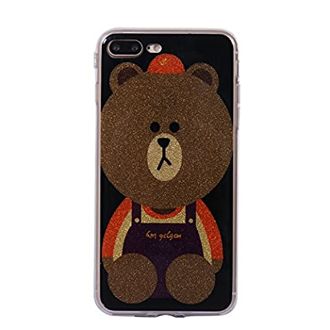 iphone 7 Plus Case, iphone 7 Plus Crystal Clear Bling Glitter Silicone Case,Cozy Hut Ultra Slim Soft TPU Silicone Back Cover Case for iphone 7 Plus, Glitter Bling Pattern Ultra Slim Anti-Scratch Clear TPU Gel Rubber Thin Flexible Soft Bumper Protective Case Cover for iphone 7 Plus - Brown