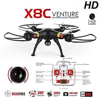 SYMA X8C 2.4G 4CH 2.0MP HD Camera 6-Axis Gyro RTF RC Quadcopter with Extra 2pcs Batteries