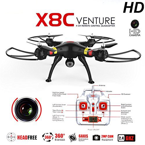 SYMA-X8C-24G-4CH-20MP-HD-Camera-6-Axis-Gyro-RTF-RC-Quadcopter-with-Extra-2pcs-Batteries