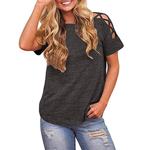 Moonuy Frauen-Sommer-Oberseiten, Mädchen Weg von der Schulter Bandge Querhülse herausgeschnittene Bluse beiläufiges T-Shirt O-Ansatz Elegante Freizeit-Lose Sweatshirt (EU 34/Asien S, Grau)