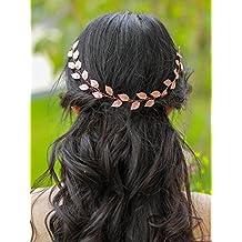 handmadejewelrylady boda novia imitación de cristal oro rosa diadema pelo  Vine para mujer noche fiesta accesorios 434b555aa51c