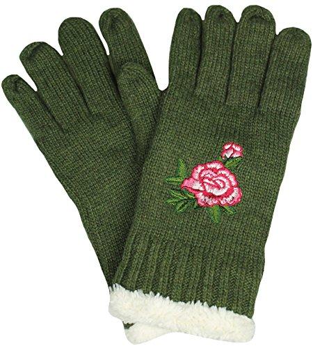 Mevina Damen Handschuhe warm mit Teddyfell gefüttert Zopf Strick Muster Gloves Winter Oliv H1004
