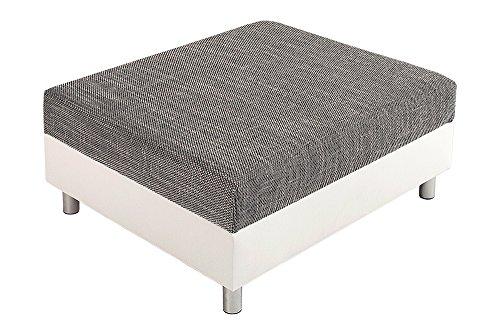 Design Ecksofa mit Hocker LOFT weiss Strukturstoff grau Federkern Sofa OT beidseitig aufbaubar - 8
