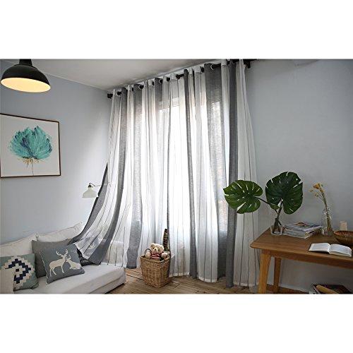 Ventana Cortinas visillos Cortinas Paneles para Sala Cuarto Dormitorio Comedor Salon Cocina Cortinas de Lino, 100 x 250 cm (cortinas grises y blancas)