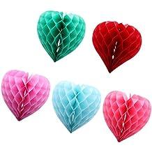 MagiDeal 5pcs Bola de Panal de Abeja Forma de Corazón 30CM Linternas de Papel Decoración Colgante de Boda de Fiesta de Cumpleaños 5 Colores