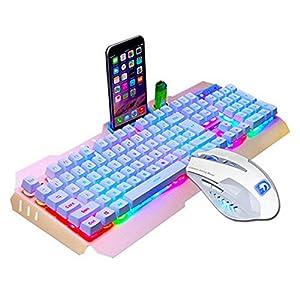 SUImeito Gaming-Tastatur M938 mit LED-Beleuchtung, ergonomische USB-Tastatur, Gamer-Maus-Set und Mauspad Gold Gold