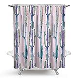 SonMo Duschvorhang Kaktus Polyester Stil 5 Anti-Schimmel Anti-Bakteriell Wasserdichtbadewanne Vorhänge mit Duschvorhangringen 150×180CM