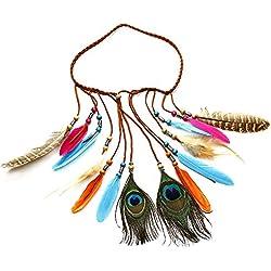 Boho Chic de plumas de hecho a mano colorido plumas de pavo real borlas diadema, pluma de pavo real cabeza cadena, longitud ajustable