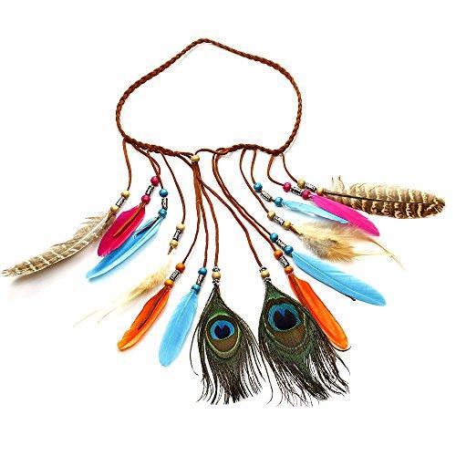 Handgefertigt Federn Boho Chic Colorful Pfau Quasten, Kopfband, Pfauenfeder Kopf Kette, verstellbare Länge (Diy Boho Hippie Kostüm)