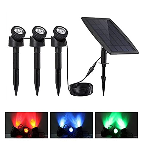 Keynice LED Underwater Solar Lights / Solar powered spotlight with 3 GRB Lamps 18 Leds, Waterproof IP68,Outdoor Garden Wall Lighting- Auto On/Off -Black …