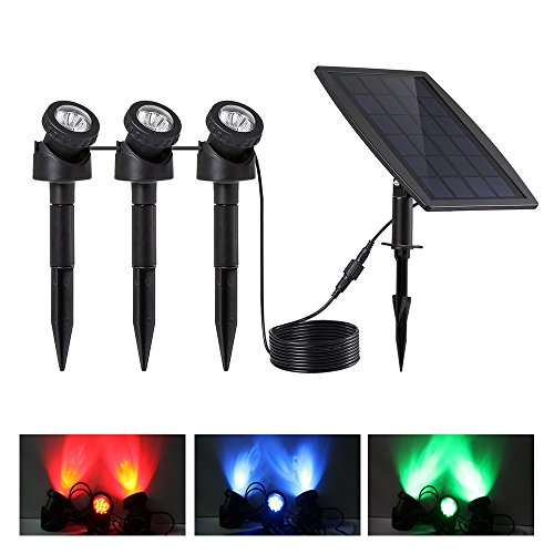 Keynice Lampe solaire Projecteur solaire panneau solaire étanche avec le label IP68 spots avec 3 couleurs changeantes pour la Paysage jardin route patio Pelouse,etc applique exterieur- noir