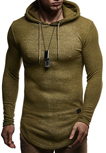 LEIF NELSON Herren Pullover Kapuzenpullover Hoodie Jacke Sweatshirt Longsleeve Sweatjacke Hoody Langarm LN8145; Größe M, Khaki  