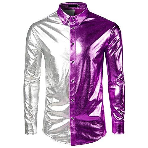 Geilisungren Herren Hemd Mode Kontrastfarbe Metallic Glänzend Langarmshirt Bügelfreie Glitzer Slim Fit Umlegekragen Knöpfen Hemden Kostüm für Nightclub Party Tanzen Disco Halloween ()
