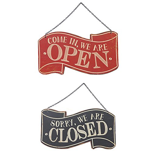 NIKKY HOME Wooden Double Sided Open and Closed Store Signs with Chain Hand, 11.87 x 0.37 x 10.87 Inches, Black & Red Test