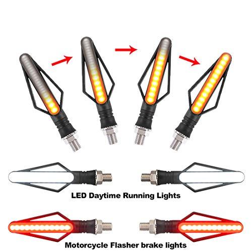 FEZZ Frecce LED Moto Universali Indicatori Di Direzione Moto LED Frecce Moto Lampadina Custom Ambra Bianco Rosso, Pack of 4