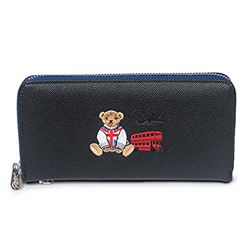 Fency Women's Cute Bear Wallet Long Embroidered Faux Leather Zip Around Purse (95-Degree Black)