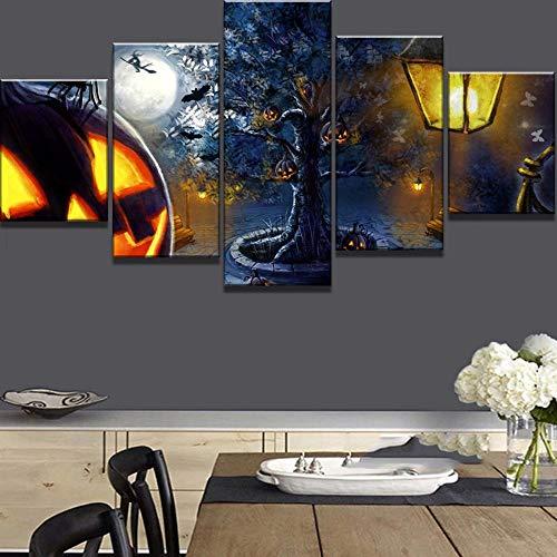 WEPAINTING 5 Stück Leinwand Kunst Happy Halloween Kürbis Gemälde auf Leinwand Wandkunst für Hauptdekorationen Wall Decor-Frame_40X60_40X80_40X100cm (Halloween Drucken Zum Happy)