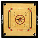 #5: GSI Khel Mandir Gloss Finish Carrom Board with Coins, Striker and Powder (Practice 33 inch 8mm)