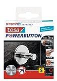tesa Premium-Haken, selbstklebend, hält bis zu 5kg, Chrom
