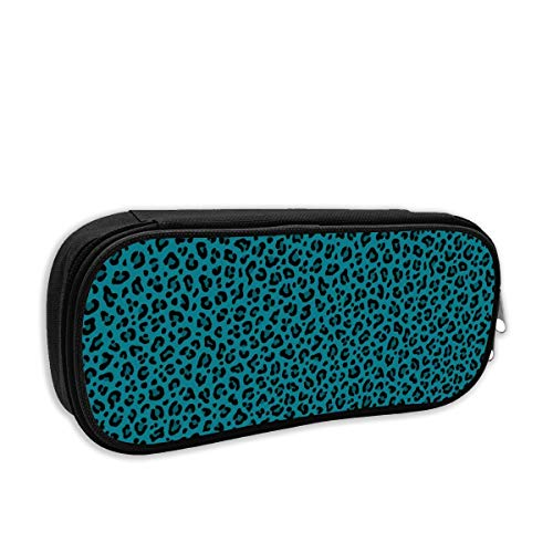 LEOPARD PRINT In TEAL BLUE Leopard Spots Punk Rock Animal Print Cute Pencil Case Pencil Pouch Stationery Organizer Multifunction Double Zippers Large Capacity -