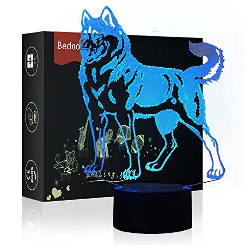 HeXie LED-Nachtlichter 3D Illusion Nachttischlampe 7 Farben ändern Schlafen Beleuchtung mit Smart Touch Button Cute Geschenk Warming Present Kreative Dekoration Ideal Kunst und Handwerk (Hund)