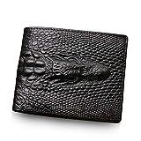 Brieftasche Herren Leder im Krokodil Vintage Design Schwarz Sehr flach und ohne Münzfach