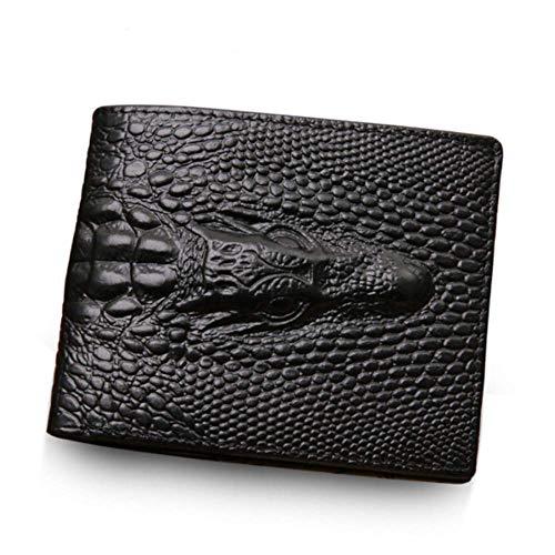 Brieftasche Herren Leder im Krokodil Vintage Design Schwarz Sehr flach und ohne Münzfach -
