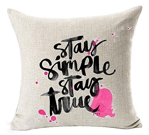 American Pastoral Watercolor Colorful Flowers Warm Funny Inspirational Sayings Stay Simply Stay True Cotton Linen Throw Pillow Case Cushion Cover New Home Decorative Square 18X18 inches -