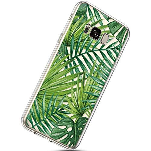 Herbests Kompatibel mit Samsung Galaxy S8 Handyhülle Transparent mit Bunt Muster Weiche Silikon Schutzhülle Durchsichtig Klar TPU Rückschale Crystal Clear Case Cover,Banane Blatt
