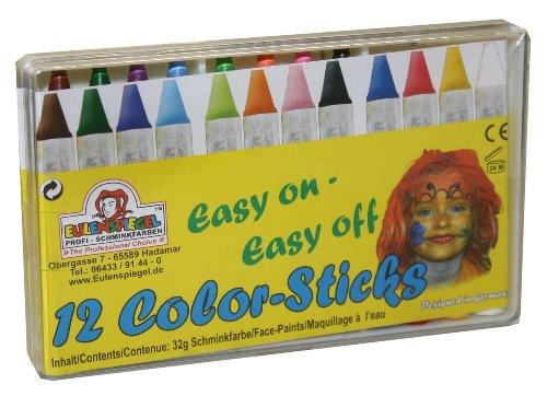 Eulenspiegel Schminkstifte, 12er Set (Joker-kostüm Halloween)