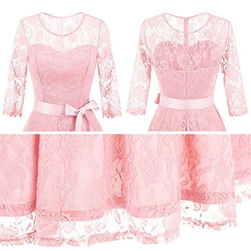 iBaste Vestito di partito del cocktail dell'annata del vestito dal 3/4 del manicotto rotondo delle donne (con cinghia) Rosa