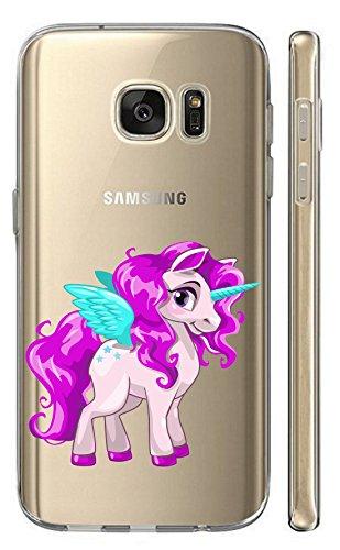 Kuna-Mobile Hülle für Huawei Y5 2018 Prime Handyhülle Motiv 2713 Einhorn Pink Türkis Cartoon Hülle aus Silikon Backcover Softcase Schutzhülle TPU Handycase Hülle für Huawei Y5 2018 Prime