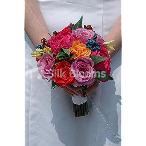 Hermoso color rosa y naranja mezcla rosa boda ramo de la dama de honor