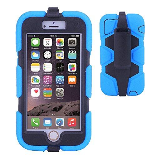 TECHGEAR® G-SHOCK Apple iPhone 6 (4.7 POUCES) Coque Solide Anti-Choc avec Protecteur d'Écran Intégré et Attache Ceinture Multi-Fonction Utilisable Comme un Stand [NOIR] BLEU