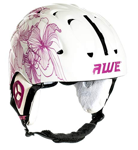 AWE® Poids léger Dames Adultes Ski Casque Jet Blanc/Rose, Taille 56-58cm