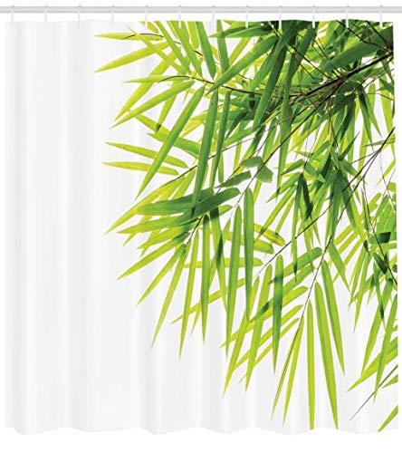 ABAKUHAUS Bambus Duschvorhang, Bambusblatt-Friedensikone, Moderner Digitaldruck mit 12 Haken auf Stoff Wasser und Bakterie Resistent, 175 x 220 cm, Grün-weiß (Duschvorhang Langen Haken)