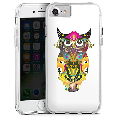 Apple iPhone 7 Plus Bumper Hülle Bumper Case Glitzer Hülle Decorative Owl Owl Eule Bumper Case transparent