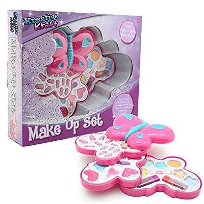 KreativeKraft Kit Maquillage Enfant Palette Coffret Make Up pour Fille Rouge à Lèvres Gloss Fard à Paupières