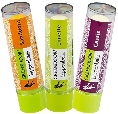 Lippenpflege-Set FRUCHT: Sanddorn, Cassis, Limette - 3 fruchtig-pflegende Lippenbalsam, natürliche Greendoor Lippen-Pflegestifte zum Sparpreis, mit Bio Jojobaöl, Naturkosmetik Lip-Balm -