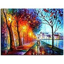 Cuadro lienzo París Los amantes amor romántico cerca la Seine Multicolor pintura al óleo Pintado a mano decoración mono arte contemporáneo (50 x 60 cm)