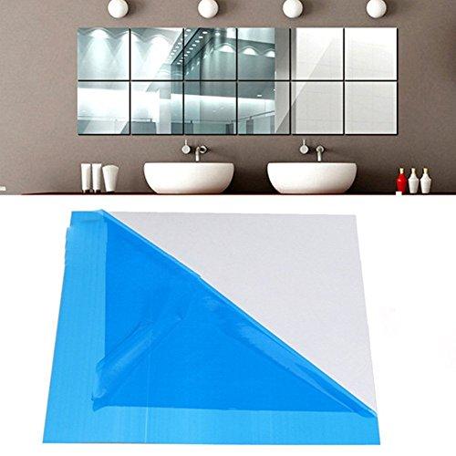 Espejo adhesivo espejo vinilo adhesivo decorativo cuadrado efecto Espejo cuadros plateado extraíble para cuarto de baño, porche, salón, cámara, 45x45cm(9 pièces)