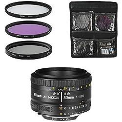 Nikon Objectif - AF Nikkor 50mm f/1.8D - Objectif pour Appareil Photo Reflex Numérique + Jeu de 3 filtres UV, FLD, CPL - Noir