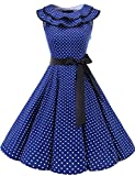 Bridesmay Damen 1950er Vintage Rockabilly Volants Ausschnitt Sommerkleid Ärmellos Partykleid Cocktailkleid Navy Small White Dot XL