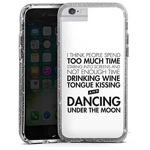 Apple iPhone 8 Bumper Hülle Bumper Case Glitzer Hülle Love Amour Liebe Bumper Case Glitzer silber