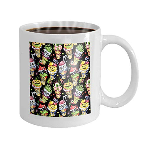 11 oz Coffee Mug watercolor cartoon cones skulls pumpkins eyes amanitas halloween holiday funny ice cream Watermark Novelty Ceramic Gifts Tea Cup