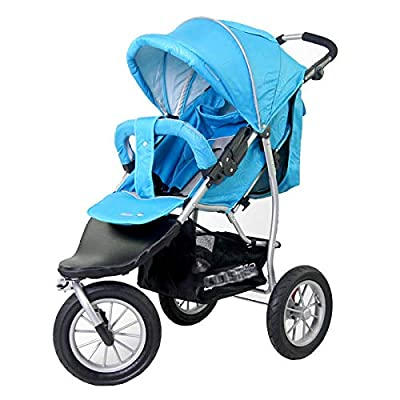 RUMIAO Baby Tricycle, Reclining, Foldable, Detachable, 12 Inch Inflatable Wheel Pushchair, 0 Months - 4 Years Old,Blue
