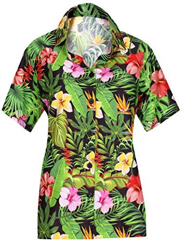 LA Leela Sommer Kragen-Shirt für Frauen Plus Größe Hibiskus Blumen gedruckt Aloha Schwarz_AA92 XXL - DE Größe :- 50-54