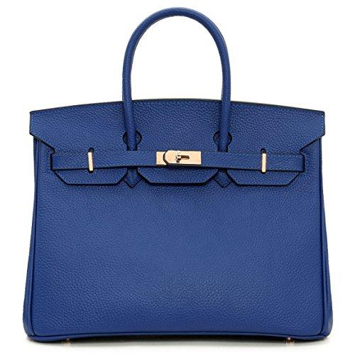 Macton borsa a mano classica europea e americana in vera pelle con lucchetto mc-1329, Rosso blu