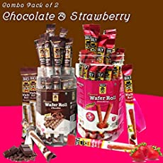 Combo Pack of 2 Bily Wafer Roll Strawberry & Chocolate (33 Units Each) (429gm Each)