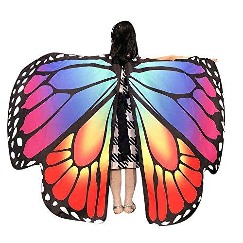 Faschingskostüme Schmetterling Schal Kinder Kostüm Schmetterlingsflügel Pixie Halloween Cosplay Schmetterlingsf Butterfly Wings Flügel LMMVP (Hellblau Größe: 136 * ()